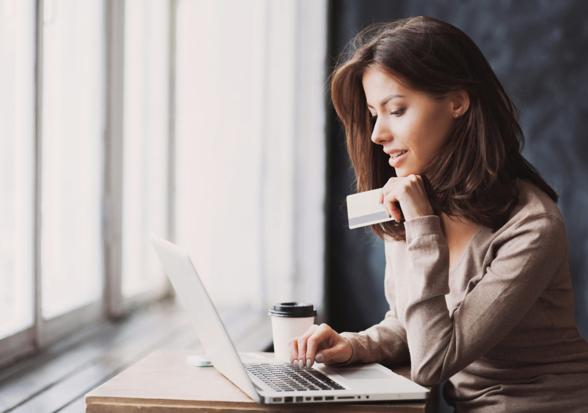 Woman managing online accounts